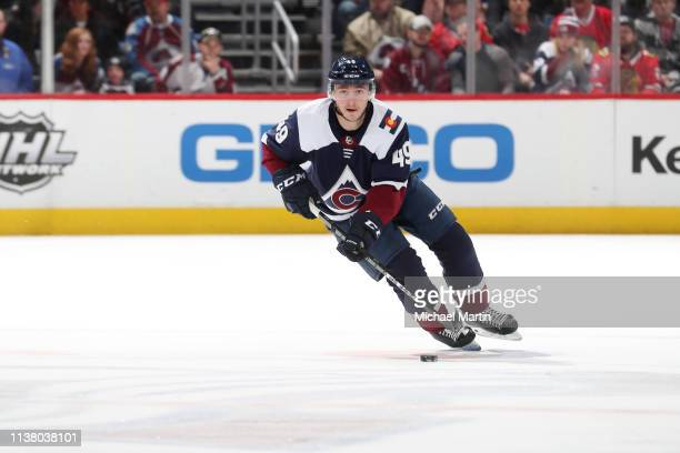 Samuel Girard of the Colorado Avalanche skates against the Chicago Blackhawks at the Pepsi Center on March 23, 2019 in Denver, Colorado. The...