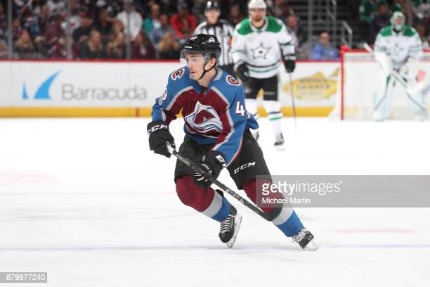 Samuel Girard of the Colorado Avalanche skates against the Dallas Stars at the Pepsi Center on November 22 2017 in Denver Colorado The Avalanche...
