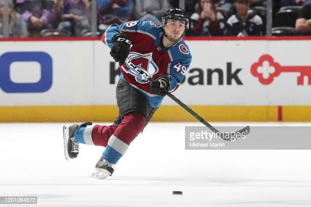 Samuel Girard of the Colorado Avalanche skates against the Detroit Red Wings at Pepsi Center on January 20, 2020 in Denver, Colorado.