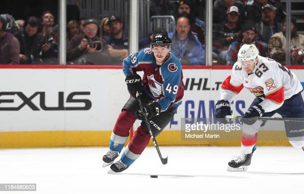 Samuel Girard of the Colorado Avalanche skates against the Florida Panthers at the Pepsi Center on October 30, 2019 in Denver, Colorado. The Panthers...