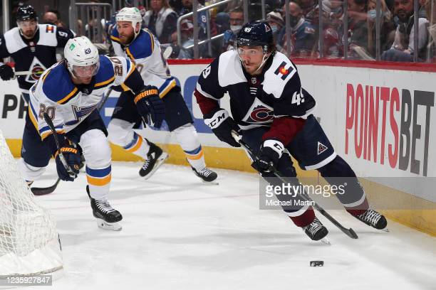 Samuel Girard of the Colorado Avalanche skates against the St Louis Blues during the second period at Ball Arena on October 16, 2021 in Denver,...