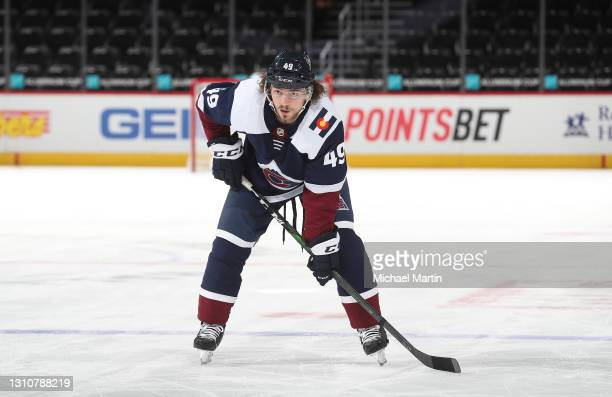 Samuel Girard of the Colorado Avalanche skates against the St Louis Blues at Ball Arena on April 03, 2021 in Denver, Colorado.