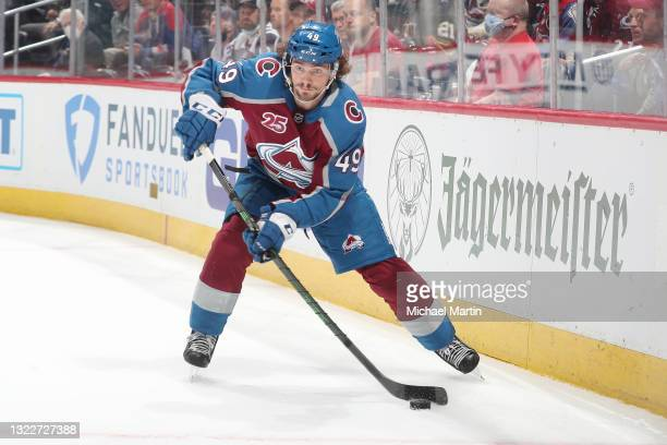 Samuel Girard of the Colorado Avalanche skates against the Vegas Golden Knights in Game Five of the Second Round of the 2021 Stanley Cup Playoffs at...