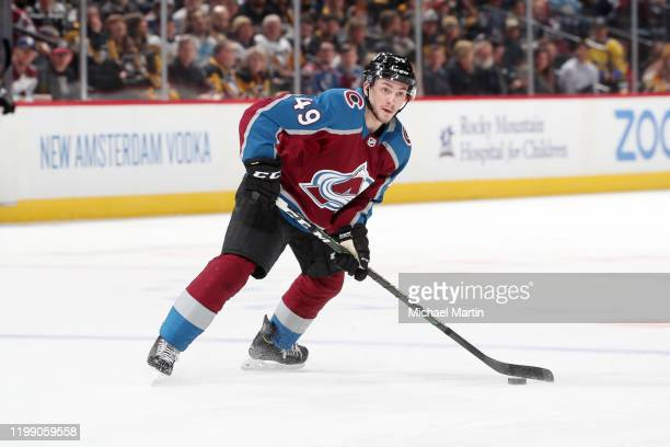 Samuel Girard of the Colorado Avalanche skates in his 200th career NHL game against the Pittsburgh Penguins at Pepsi Center on January 10, 2020 in...
