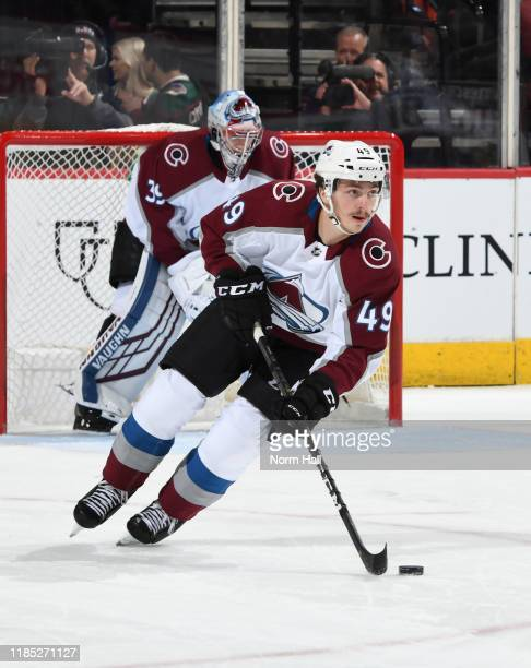 Samuel Girard of the Colorado Avalanche skates with the puck against the Arizona Coyotes at Gila River Arena on November 02, 2019 in Glendale,...