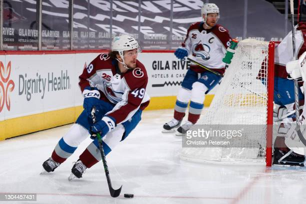 Samuel Girard of the Colorado Avalanche skates with the puck during the first period of the NHL game against the Arizona Coyotes at Gila River Arena...