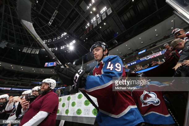 Samuel Girard of the Colorado Avalanche takes to the ice prior to the game against the Dallas Stars at the Pepsi Center on November 22 2017 in Denver...