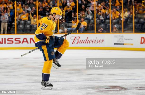 Samuel Girard of the Nashville Predators celebrates his first career NHL goal against the Dallas Stars during an NHL game at Bridgestone Arena on...