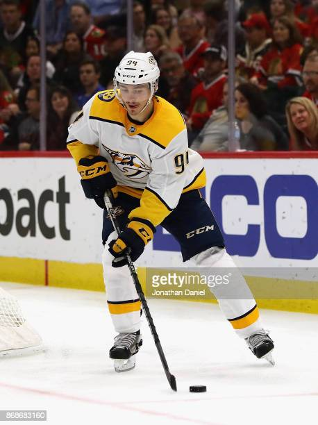 Samuel Girard of the Nashville Predators controls the puck against the Chicago Blackhawks at the United Center on October 14 2017 in Chicago Illinois...