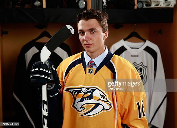 Samuel Girard poses for a portrait after being selected 47th overall by the Nashville Predators during the 2016 NHL Draft at First Niagara Center on...