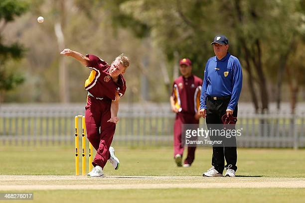 Samuel Goggett of Queensland bowls during the Imparja Cup match between Victoria and Queensland at Albrecht Oval on February 10 2014 in Alice Springs...