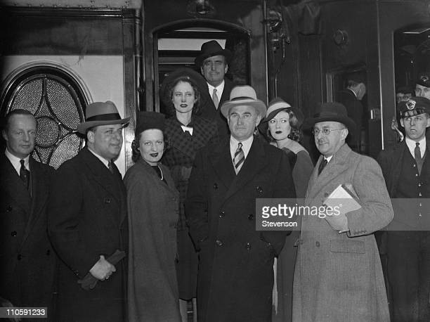Samuel Goldwyn leaves Waterloo Station in London on the 'Queen Mary' boat train, 20th April 1938. He is going to America to discuss the...