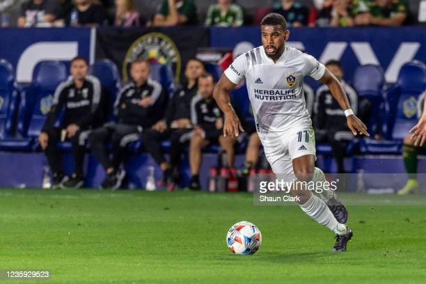 Samuel Grandsir of Los Angeles Galaxy controls the ball during the game against Portland Timbers at the Dignity Health Sports Park on October 16,...