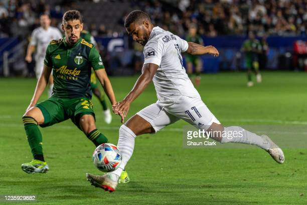Samuel Grandsir of Los Angeles Galaxy takes a shot during the game against Portland Timbers at the Dignity Health Sports Park on October 16, 2021 in...