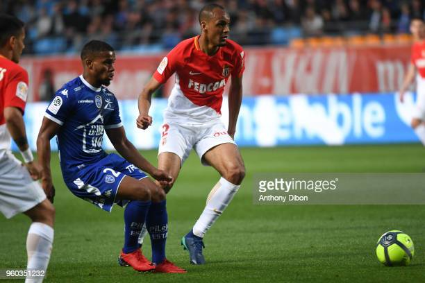 Samuel Grandsir of Troyes and Fabinho of Monaco during the Ligue 1 match between Troyes AC and AS Monaco at Stade de l'Aube on May 19 2018 in Troyes