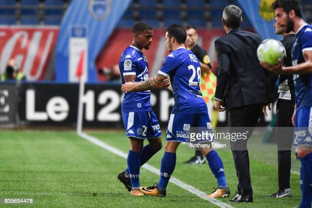 Samuel Grandsir of Troyes is replaced by Bryan Pele of troyes during the Ligue 1 match between Troyes Estac and FC Nantes at Stade de l'Aube on...