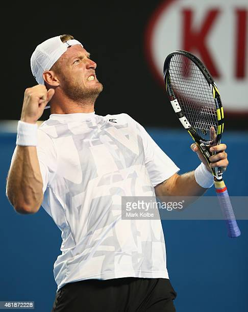 Samuel Groth of Australia celebrates winning a break point in his second round match against Thanasi Kokkinakis of Australia during day three of the...