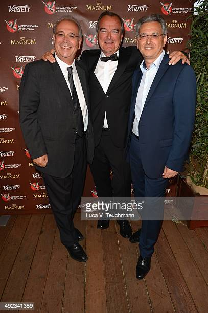Samuel Hadida Dennis David and Victor Hadida attend the Metropolitan Filmexport 35th Anniversary Party at Magnum Beach on May 19 2014 in Cannes France