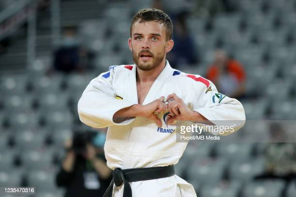 Samuel Hall of Great Britain reacts in the Men's -60kg semifinal match during day one of the Judo Grand Prix Zagreb 2021 at Arena Zagreb on September...