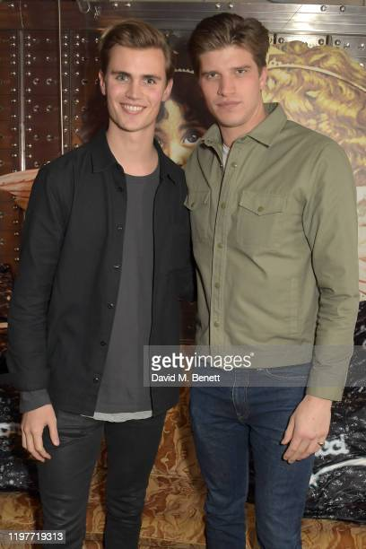 Samuel Harwood and Toby HuntingtonWhiteley attend the Fiorucci Launch X Ned's Club event at The Ned on January 05 2020 in London England