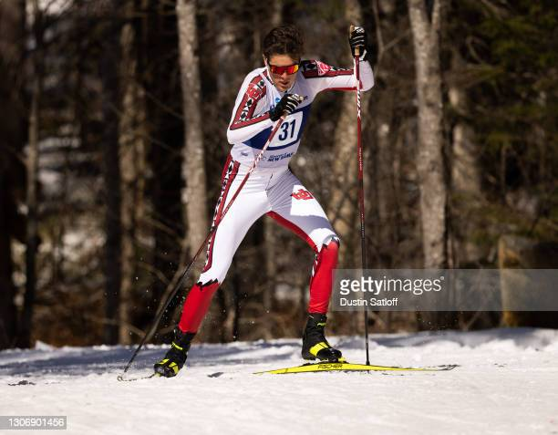 Samuel Hendry of the University of Utah during the men's 20km freestyle at the NCAA Skiing Championships on March 13, 2021 in Jackson, New Hampshire.
