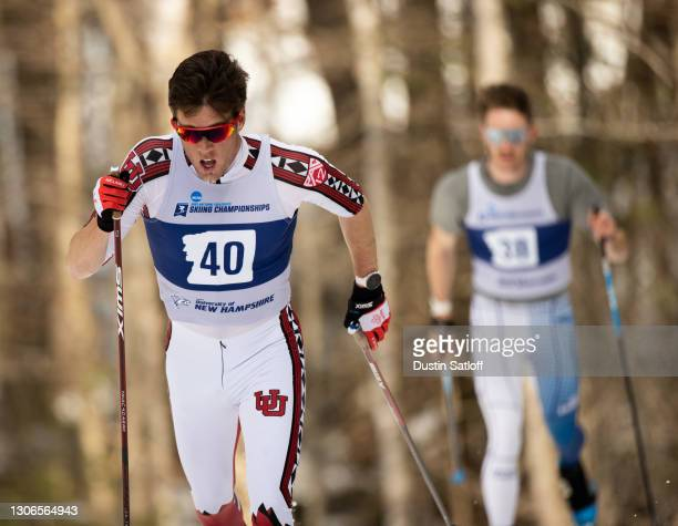 """Samuel Hendry of the University of Utah during the men""""u2019s 10km classic at the NCAA Skiing Championship on March 11, 2021 in Jackson, New..."""