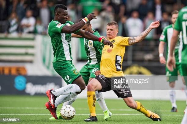 Samuel Holmen of IF Elfsborg and Joseph Aidoo of Hammarby IF battles for the ball during the Allsvenskan match between IF Elfsborg and Hammarby at...
