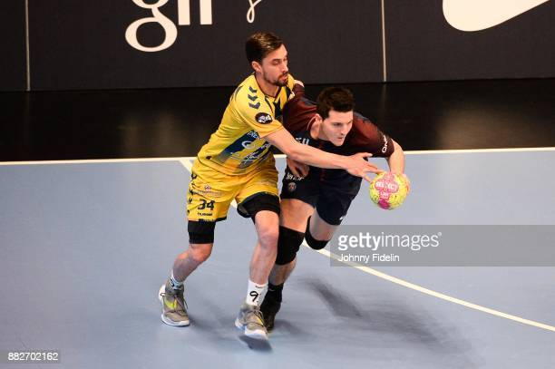 Samuel Honrubia of Tremblay and Edouard Kempf of PSG during the Lidl Starligue match between Paris Saint Germain and Tremblay on November 29 2017 in...