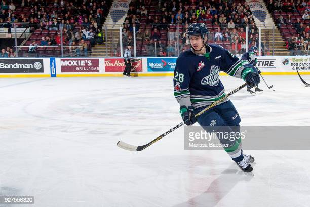 Samuel Huo of the Seattle Thunderbirds skates over centre ice against the Kelowna Rockets at Prospera Place on February 23 2018 in Kelowna Canada