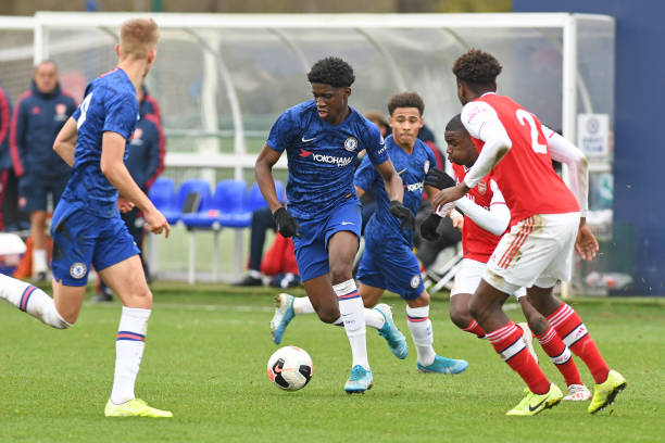 Samuel Iling Jr of Chelsea during the Chelsea FC v Arsenal FC Premier League U18 match at Chelsea Training Ground on January 4, 2020 in Cobham,...