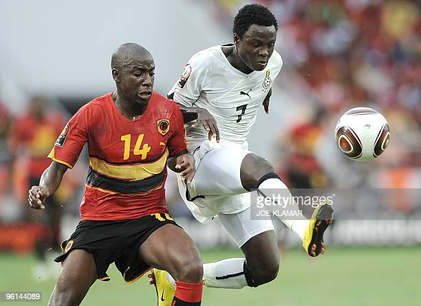Samuel Inkoom of Ghana and Djalma of Angola during the quarterfinal match between Angola and Ghana during African Cup of Nations football...