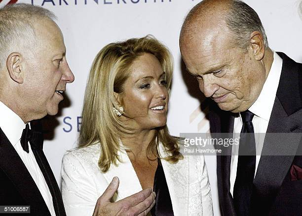 Samuel J Heyman Chairman of International Specialty Products talks with Former Senator Fred Thompson and his wife Jeri as they pose for a photo at...
