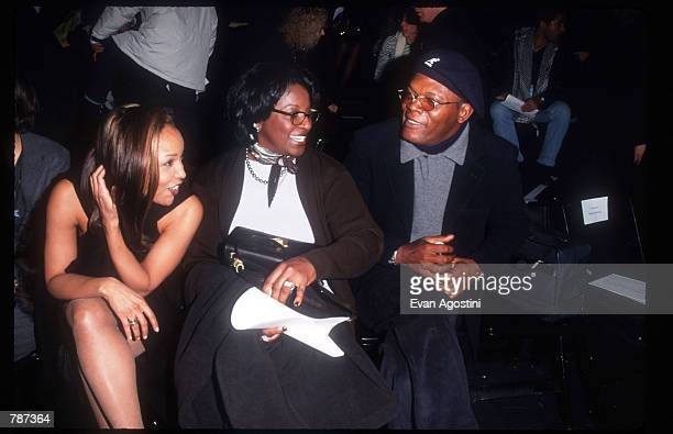 Samuel Jackson, his wife and Lynn Whitfield sit backstage February 17, 1999 during the Marc Bouwer 1999 Fall Fashion Show in New York City. Fashion...