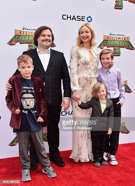 Samuel Jason Black actor Jack Black actress Kate Hudson Bingham Hawn Bellamy and Ryder Robinson attend the premiere of DreamWorks Animation and...