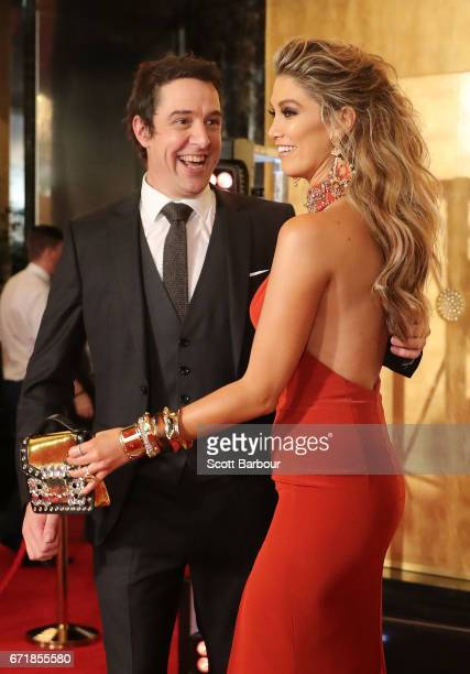 Samuel Johnson asks Delta Goodrem for a photo as they arrive at the 59th Annual Logie Awards at Crown Palladium on April 23 2017 in Melbourne...