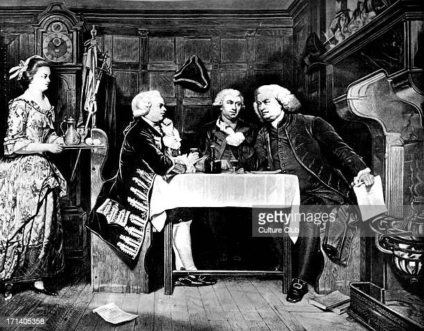Samuel Johnson at the Mitre Tavern with Oliver Goldsmith and Boswell Mitre Tavern was in Mtre Court Fleet Street It was where Dr J drank his bottle...