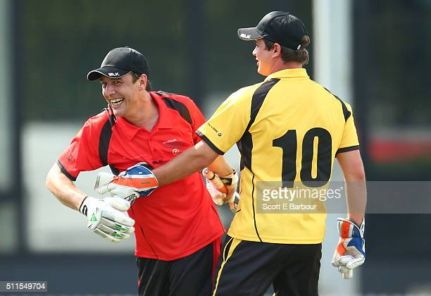 Samuel Johnson runs into Johnny Ruffo during the Medibank Melbourne Celebrity Twenty20 match at North Port Oval on February 21 2016 in Melbourne...