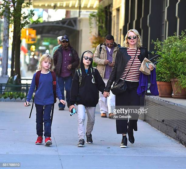 Samuel Kai Schreiber Alexander Pete Schreiber and Naomi Watts are seen in Tribeca on May 16 2016 in New York City