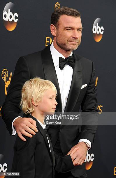 Samuel Kai Schreiber and actor Liev Schreiber attend the 68th Annual Primetime Emmy Awards at Microsoft Theater on September 18 2016 in Los Angeles...