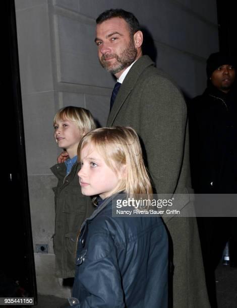 Samuel Kai Schreiber Liev Schreiber and Alexander Pete Schreiber are seen on March 20 2018 in New York City