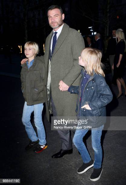 Samuel Kai Schreiber, Liev Schreiber and Alexander Pete Schreiber are seen on March 20, 2018 in New York City.