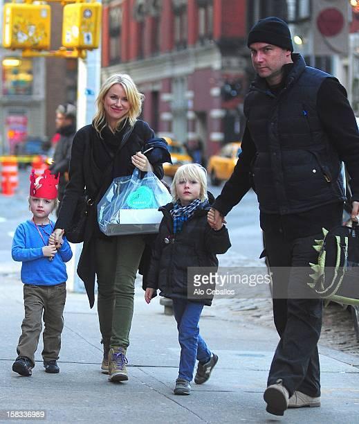 Samuel Kai Schreiber Naomi Watts Alexander Pete Schreiber and Liev Schreiber are seen in the East Village on December 13 2012 in New York City
