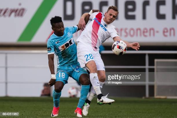 Samuel Kalu of KAA Gent Laurens de Bock of Club Bruggeduring the Jupiler Pro League Play Off I match between KAA Gent and Club Brugge on April 02...