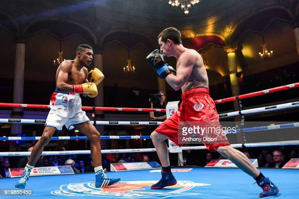 Samuel Kistohurry and Peter McGrail during World Series of Boxing event between Fighting Roosters and British Lionhearts at Salle Wagram on February...