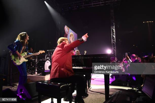 Samuel Kiszka and Sir Elton John performing during the 26th annual Elton John AIDS Foundation Academy Awards Viewing Party sponsored by Bulgari...