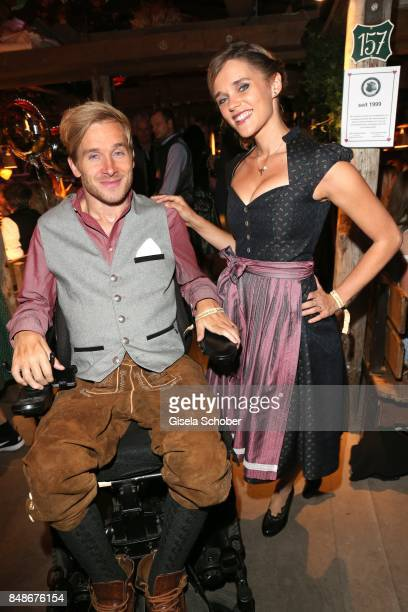 Samuel Koch and his wife Sarah Elena Koch during the 'Almauftrieb' as part of the Oktoberfest 2017 at Kaeferschaenke Tent on September 17 2016 in...