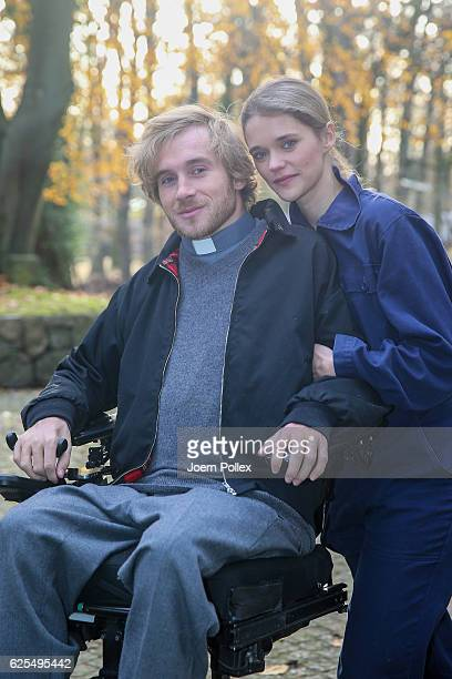 Samuel Koch and his wife Sarah Elena Timpe attend a photo call of the TV show 'Grossstadtrevier' on November 24 2016 in Hamburg Germany