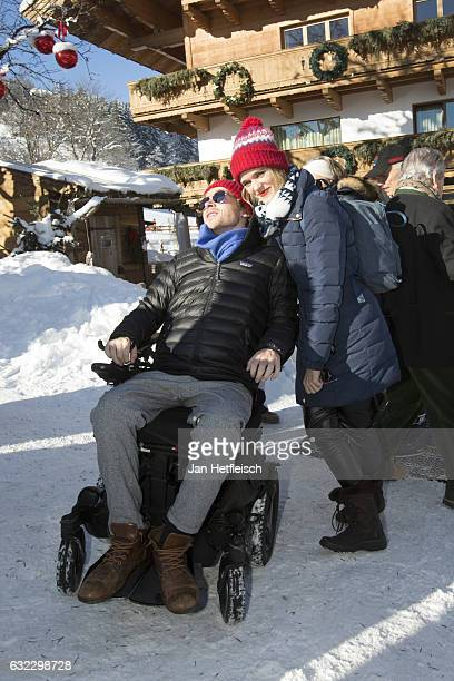 Samuel Koch and his wife Sarah Elena Timpe pose for a picture on January 21 2017 in Kitzbuehel Austria