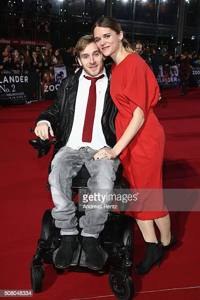 Samuel Koch and Sarah Elena Timpe attends the Berlin fan screening of the Paramount Pictures film 'Zoolander No 2' at CineStar on February 2 2016 in...