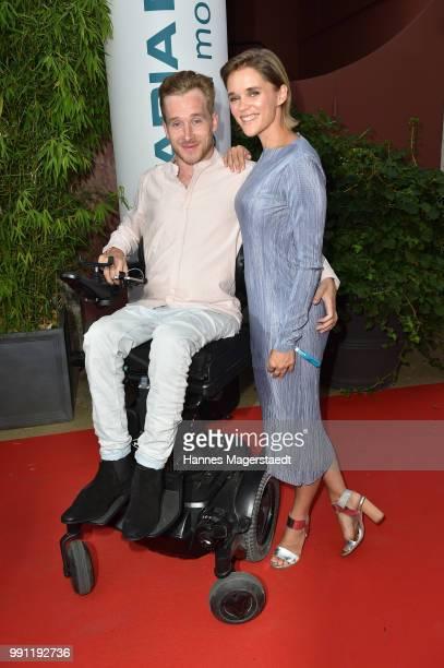 Samuel Koch and Sarah Elena Timpe during the Bavaria Film reception during the Munich Film Festival 2018 at Kuenstlerhaus am Lenbachplatz on July 3...